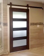 Mahogany Door With Obstructed View Glass