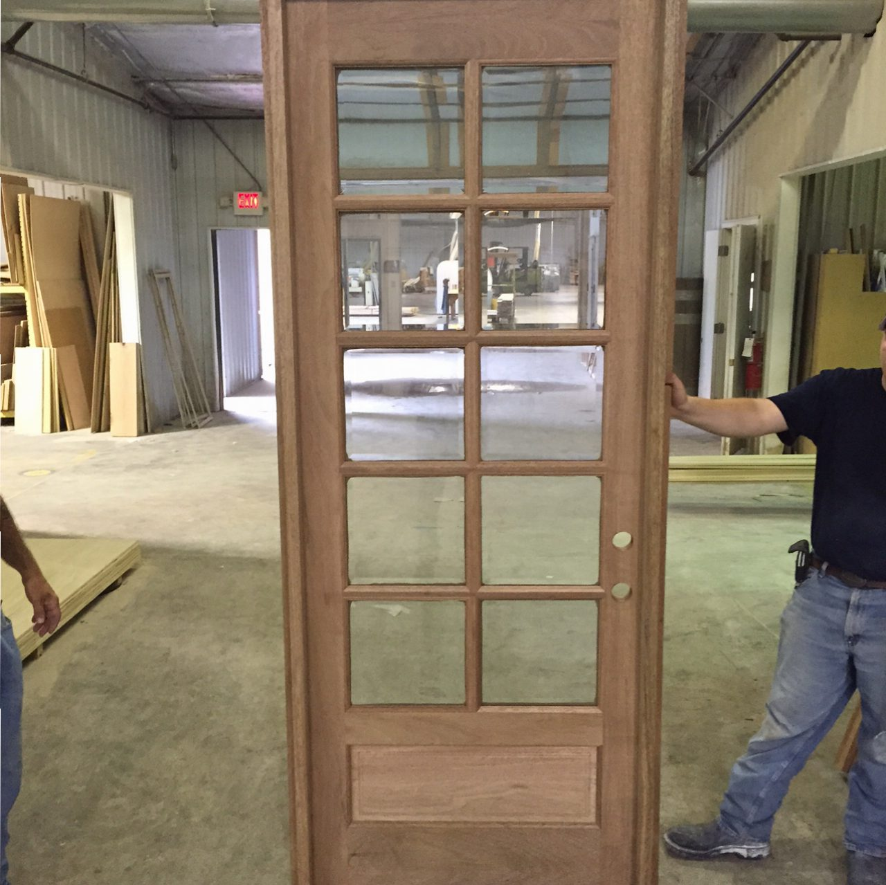 COM ( AMISH CUSTOM DOORS ) PICTURES OF DOOR BEING PREHUNG ! SOLID MAHOGANY 8  FT DOOR / 10 LIGHT TRUE DIVIDED WITH BEVELED INSULATED GLASS DOOR 36 X 96