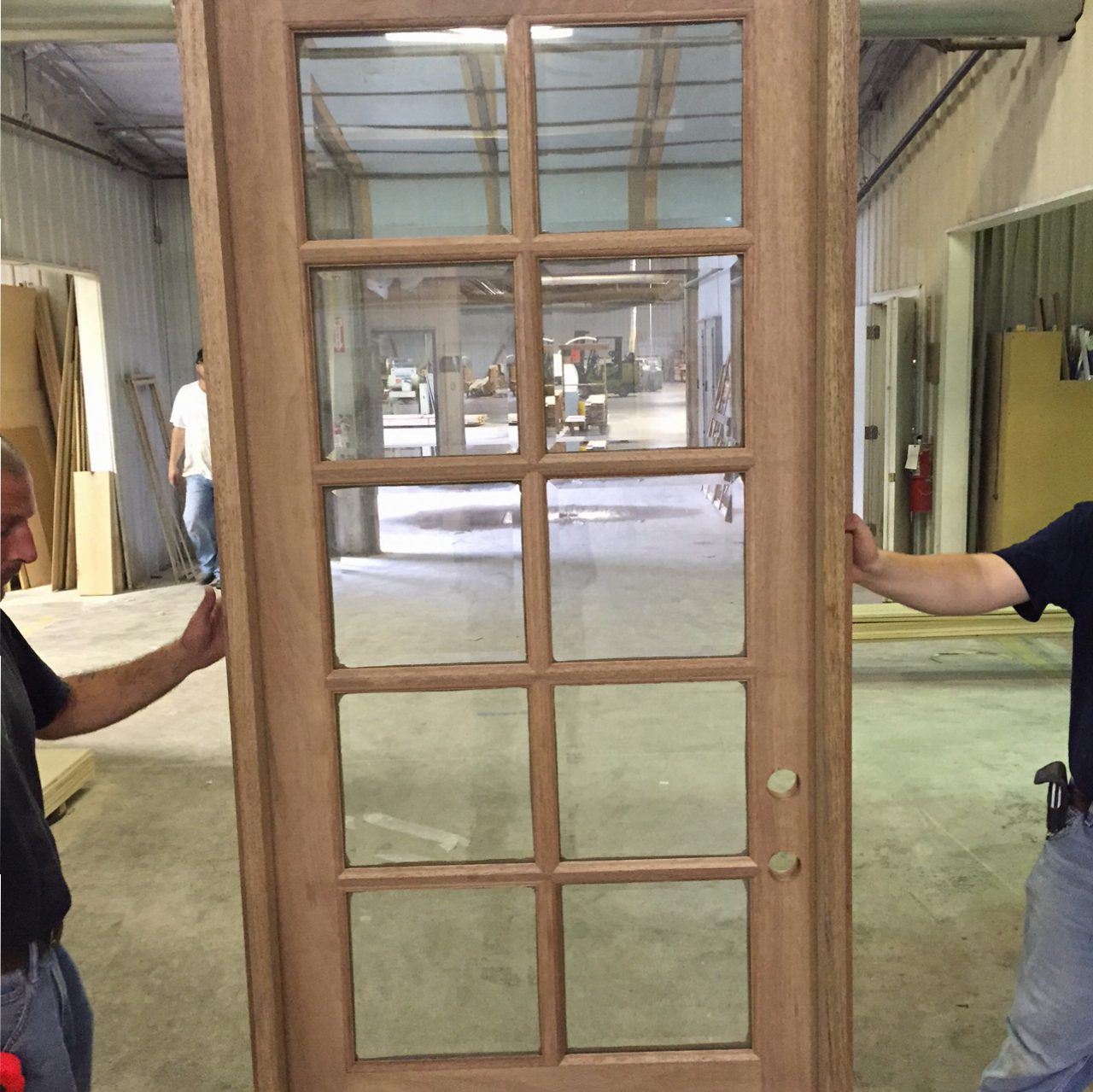 COM ( AMISH CUSTOM DOORS ) PICTURES OF DOOR BEING PREHUNG In SOLID MAHOGANY  JAMBS 8 FT DOOR In HEIGHT . 10 LIGHT TRUE DIVIDED WITH BEVELED INSULATED  GLASS ...