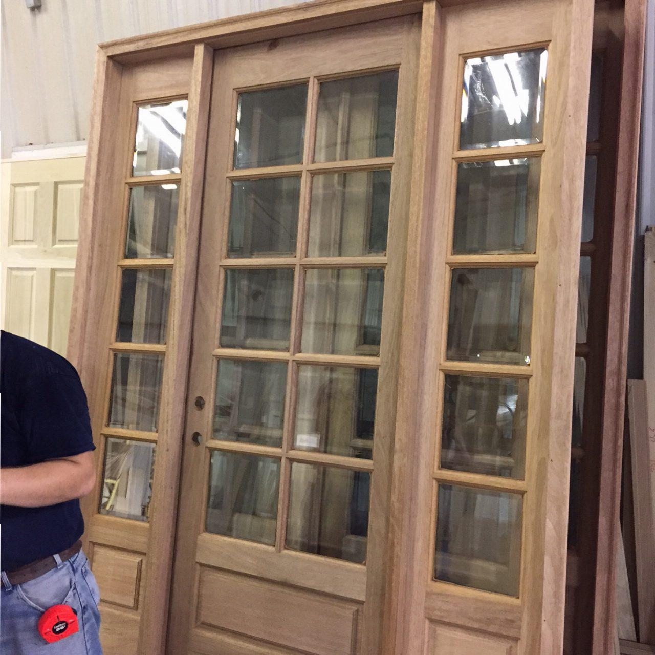 COM ( AMISH CUSTOM DOORS ) PICTURES OF DOOR BEING PREHUNG ! SOLID MAHOGANY 8 FT DOOR / 10 LIGHT TRUE DIVIDED WITH BEVELED INSULATED GLASS DOOR 36 x 96 with ... & Shop Pictures - Amish Custom Doors