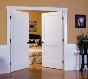 CRAFTSMAN SOLID TWO PANEL DOUBLE INTERIOR DOORS