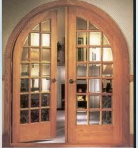 Round Top Pair Of Interior Double Doors In Oak With True Divided Lights .  We Custom Mill Arched Top Interior Doors